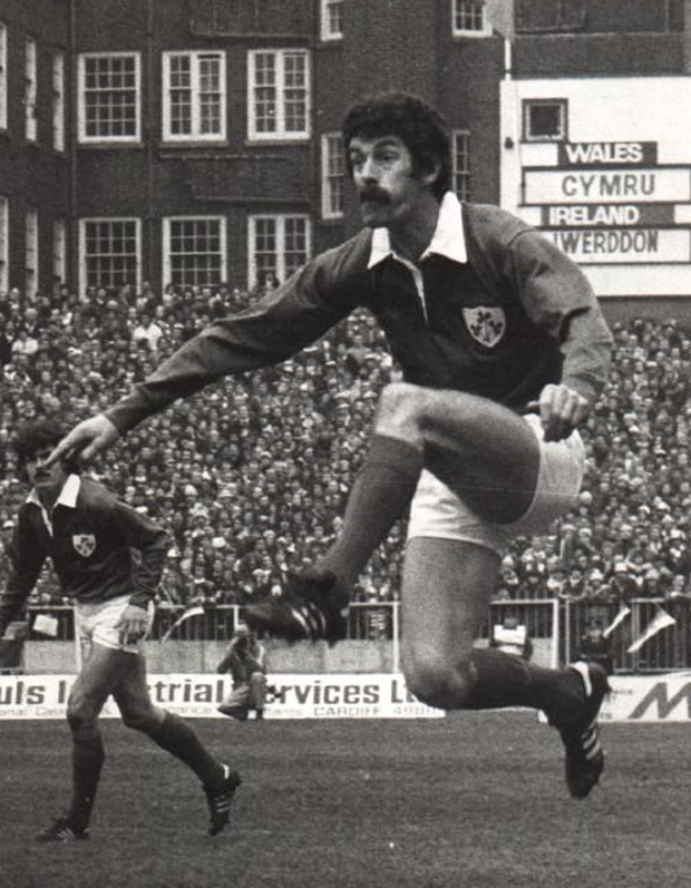Dick Spring in action for Ireland against Wales in Cardiff Arms Park in 1979