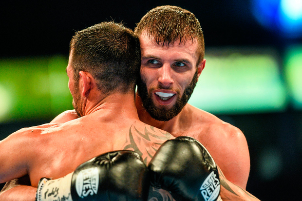 Anthony Cacace in the clinch during his bout against Santiago Bustos in Belfast in February 2015. Pic: Sportsfile