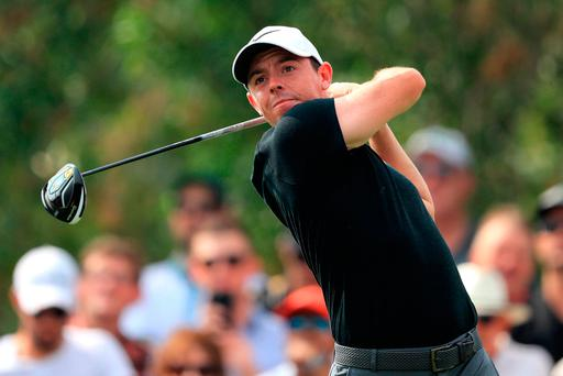 Rory McIlroy hits his tee shot on the 9th hole in Dubai in Saturday