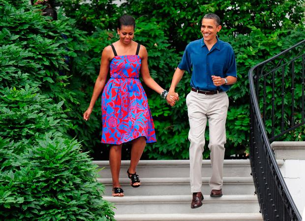 U.S. President Barack Obama and First Lady Michelle Obama wearing Sophie Theallet in 2011