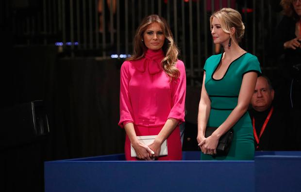 Ivanka Trump (R) and Melania Trump (L) appear before the second presidential debate at Washington University in St. Louis, Missouri on October 9, 2016. / AFP / POOL / RICK WILKING (Photo credit should read RICK WILKING/AFP/Getty Images)