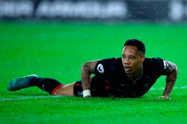 Liverpool's Nathaniel Clyne reacts to a missed chance
