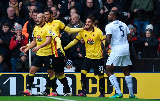 Watford's Roberto Pereyra celebrates scoring their second goal