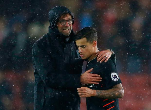 Liverpool manager Jurgen Klopp and Philippe Coutinho