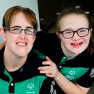 PREPARED: Team Ireland athlete Lorraine Whelan (left) will compete in the alpine skiing event at the Special Olympics World Winter Games in Austria next year, and Laoise Kenny will appear in the downhill skiing category. Photo: Steve Humphreys