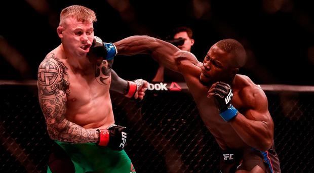 Abdul Razak Alhassan, right, in action against Charlie Ward during their Welterweight bout at UFC Fight Night 99 in the SSE Arena, Belfast. Photo by David Fitzgerald/Sportsfile