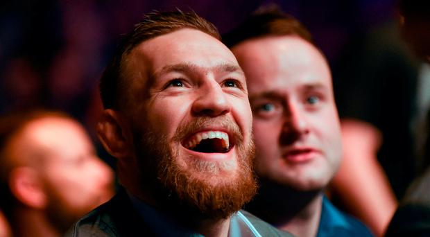 UFC Lightweight and Featherweight champion Conor McGregor at UFC Fight Night 99 in the SSE Arena, Belfast. Photo by David Fitzgerald/Sportsfile
