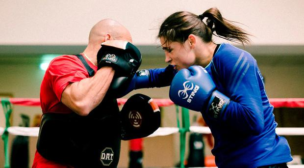 RING MASTER: Katie sparring before her Karina Kopinska fight