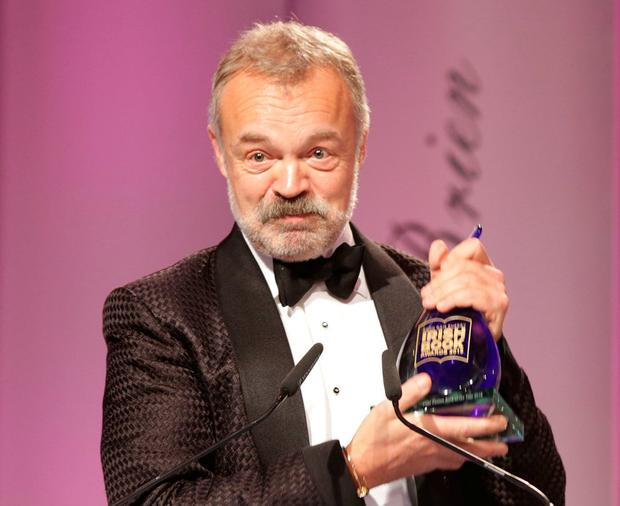 Graham Norton, winner of the Irish Independent Popular Fiction Book of the Year at the 11th annual Bord Gais Energy Book Awards. Photo: David Conachy