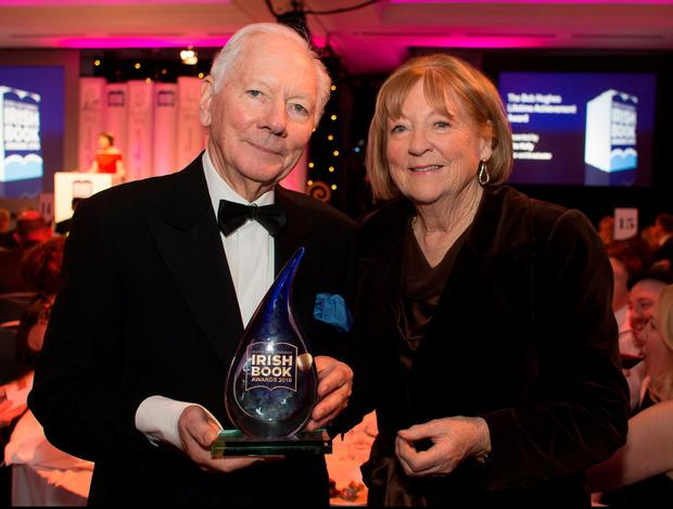 DELIGHTED AND EXCITED: Children's Book of the Year winner Kathleen Watkins and her husband Gay Byrne. Photo: David Conachy
