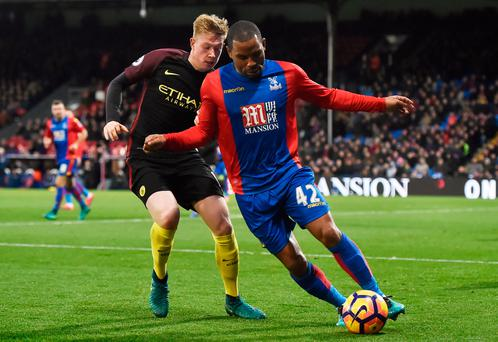 Crystal Palace's Jason Puncheon in action against Manchester City's Kevin De Bruyne during the match at Selhurst Park. Photo: Hannah McKay/Reuters