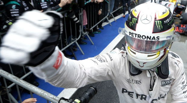 'It won't be raining in Abu Dhabi, unlike in Brazil when Lewis Hamilton pulverised the opposition.' Photo: AP
