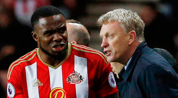 Sunderland's Victor Anichebe and manager David Moyes celebrate after they beat Hull City at The Stadium of Light. Photo: Craig Brough/Reuter