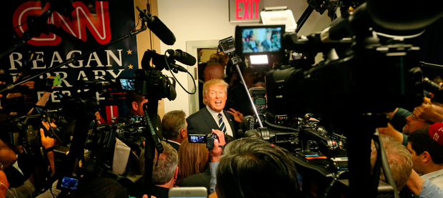 Republican presidential candidate Donald Trump speaks with reporters. Photo: Getty