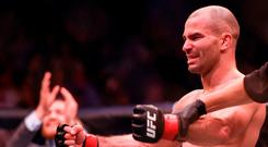 Artem Lobov celebrates after defeating Teruto Ishihara during their Featherweight bout at UFC Fight Night 99 in the SSE Arena, Belfast. Photo by David Fitzgerald/Sportsfile