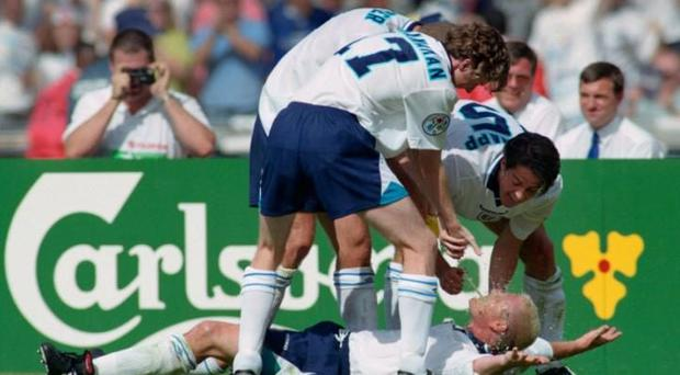 Gascoigne celebrates in the infamous 'Dentists Chair' with McManaman, Sherringham and Redknapp CREDIT: ALLSPORT/GETTY IMAGES