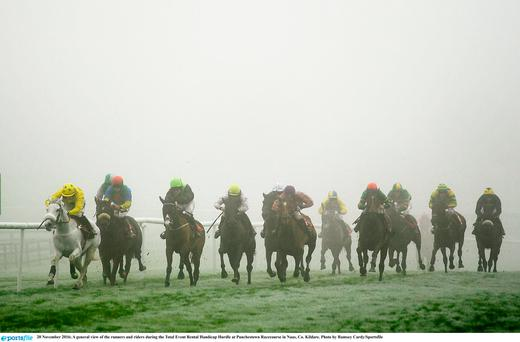 A general view of the runners and riders during the Total Event Rental Handicap Hurdle at Punchestown Racecourse in Naas, Co. Kildare. Photo by Ramsey Cardy/Sportsfile