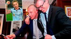 Joe Brolly with Kieran Donaghy and (inset) Owen Mulligan