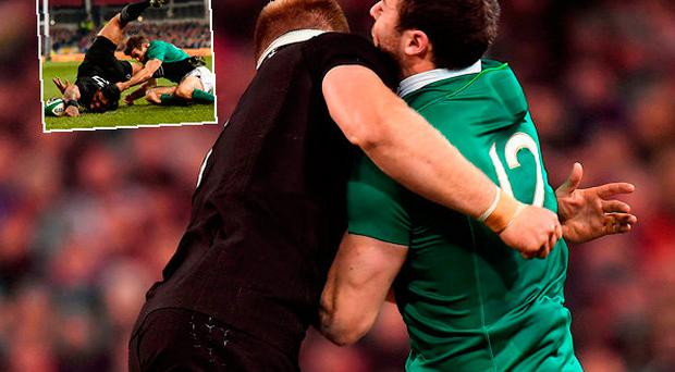 Robbie Henshaw of Ireland is tackled by Sam Cane and (inset) Fekitoa scores a try