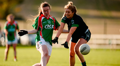 Aisling Hughes of Carnacon in action against Ciara Ni Mhurchadh of Foxrock Cabinteely. Photo by Sam Barnes/Sportsfile