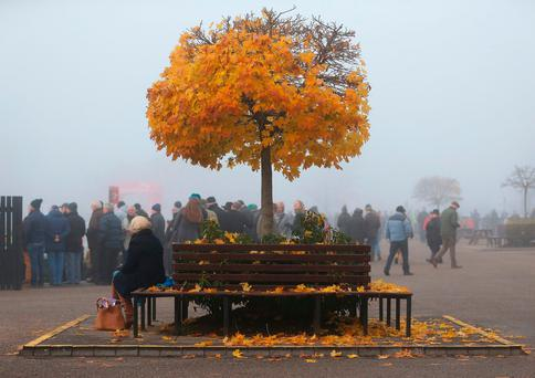 A woman takes a seat on a bench at Punchestown Racecourse in Kildare, Ireland, as the remaining autumn leaves continue to fall. Photo: Brian Lawless/PA Wire