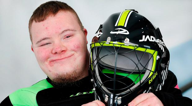 LJ Ryan (19) from Blanchardstown, who will compete in the floorball event at yesterday's launch. Photo: Steve Humphreys