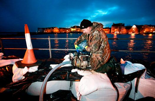 Kevin 'Boxer' Moran, now a TD, volunteered at the pumps helping to hold off the floodwaters in Athlone last year. Photo: Frank McGrath