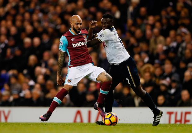 Tottenham's Victor Wanyama in action with West Ham United's Simone Zaza. Photo: Reuters / Stefan Wermuth
