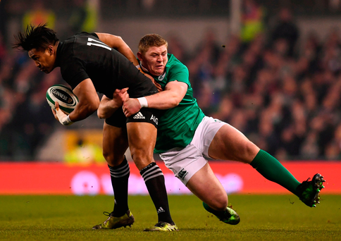 Julian Savea can't escape the clutches of Tadhg Furlong. Photo: Stephen McCarthy/Sportsfile