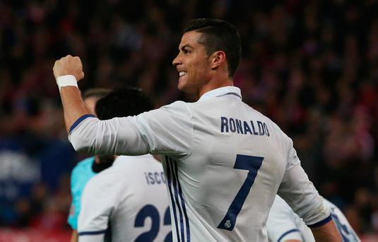 Ronaldo netted a hat-trick for Los Blancos that sees him move beyond the legendary Alfredo Di Stefano as the top scorer in the history of the Madrid derby. Photo: Reuters / Sergio Perez