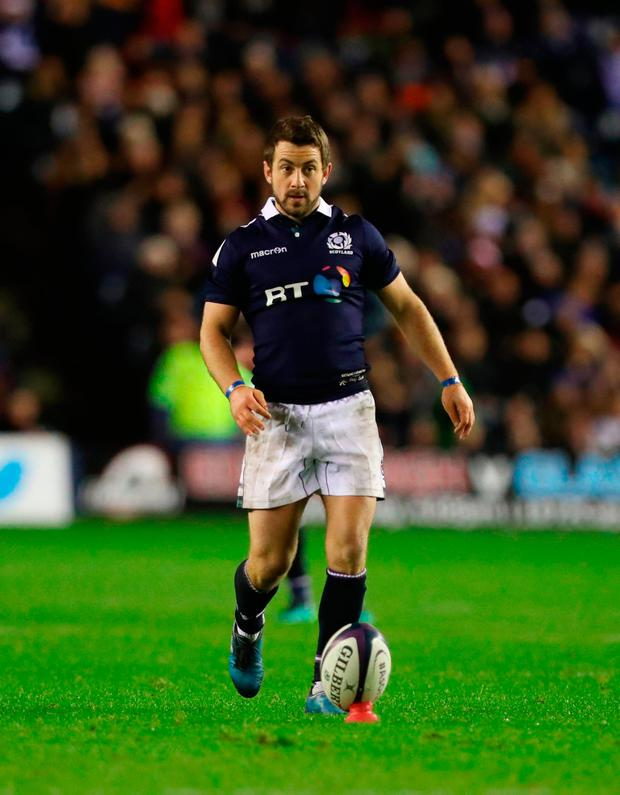 Greig Laidlaw of Scotland prepares to take the last kick of the game and secure a win. Photo: Getty