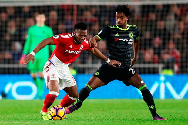 Adama Traore of Middlesbrough is challenged by Nathaniel Chalobah of Chelsea. Photo by Ian MacNicol/Getty Images