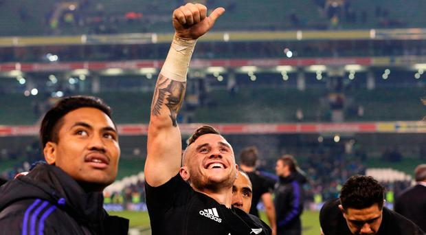 New Zealand's TJ Perenara celebrates victory. Photo: Brian Lawless/PA Wire