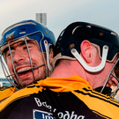 James Murphy (left) and Gearóid O'Connell celebrate after Ballyea's victory over Glen Rovers at Semple Stadium. Photo: Piaras Ó Mídheach/Sportsfile