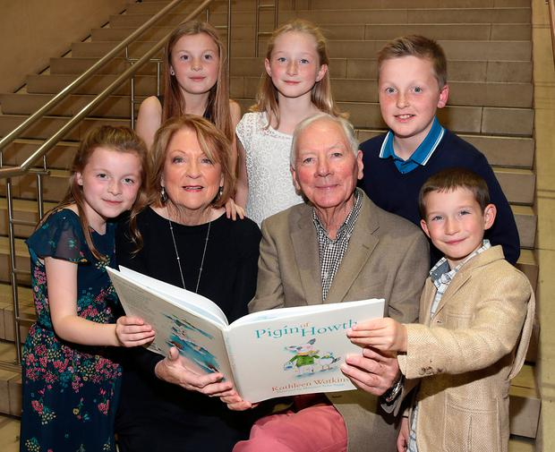 Gay Byrne with his wife Kathleen Watkins and grandchildren Sadhbh, Saoirse, Kate, Harry and Cian at a recent book launch. Picture: Brian McEvoy