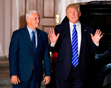 US president-elect Donald Trump and US vice president-elect Mike Pence after meetings in New Jersey. Photo: Don Emmert/Getty