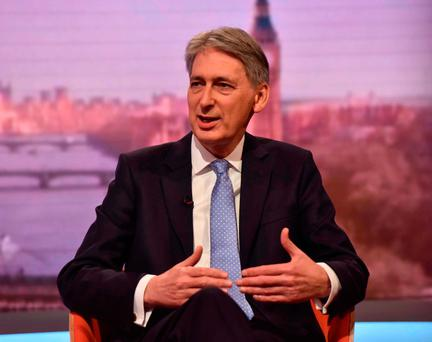 "Mr Hammond also BBC television that levels of public debt were ""eye-wateringly"" high. Photo: Jeff Overs/BBC via Getty Images"