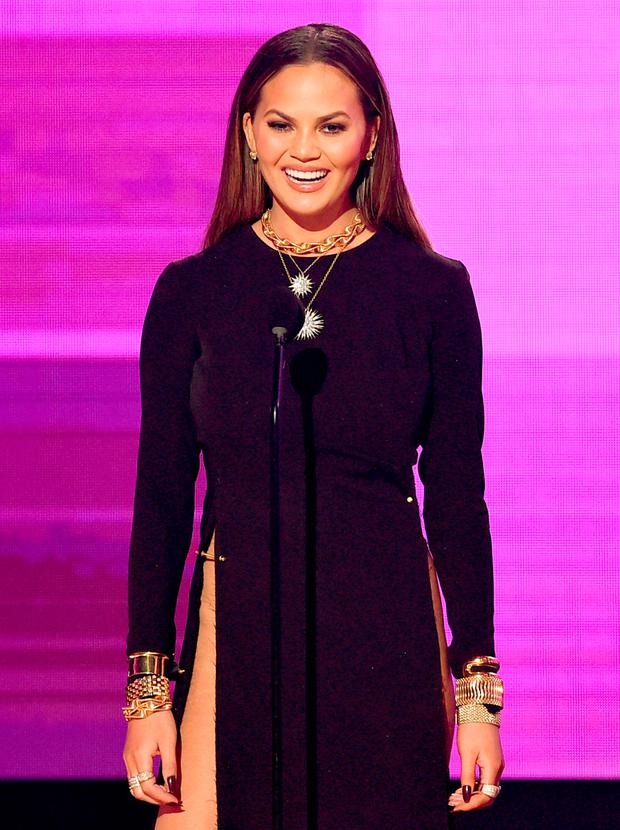 Model Chrissy Teigen speaks onstage during the 2016 American Music Awards at Microsoft Theater on November 20, 2016 in Los Angeles, California. (Photo by Kevin Winter/Getty Images)