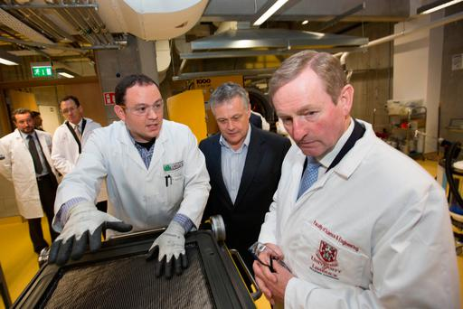 Dr. Peter Hammond, UL Faculty of Science & Engineering, Paul Weaver, Bernal Chair in Composite Materials, An Taoiseach Enda Kenny and Prof Walker, Bernal Chair in Pharmaceutical Powder Engineering at UL at the launch of the Bernal Institute at the University of Limerick. Pic Sean Curtin True Media.