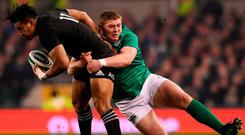 Tadhg Furlong tackles Julian Savea during his stand-out display against the All Blacks. Photo: SPORTSFILE