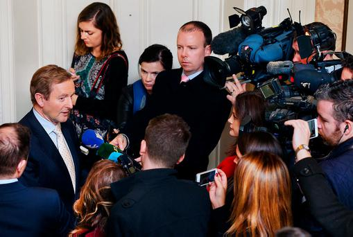Taoiseach Enda Kenny, faces the media in Dublin after a jobs announcement. Photo: Steve Humphreys