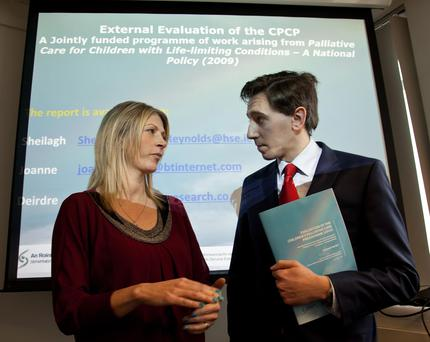 Lucy Greene and Health Minister Simon Harris during the report launch. Photo: Paul Sherwood