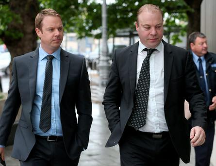 Patrick James Mansfield and Jim Mansfield Jr arrive at court earlier this year Picture: Collins