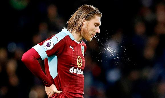 Burnley's Jeff Hendrick looks dejected after the game