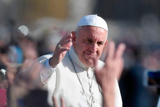 Pope Francis also addressed the faithful outside Picture: AFP/Getty