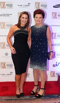 Clodagh Edwards, left, CEO, Image publications and Penneys and Primark executive Breege O'Donoghue at the 2016 IMAGE Businesswoman of the Year Awards in Dublin. Picture credit; Damien Eagers