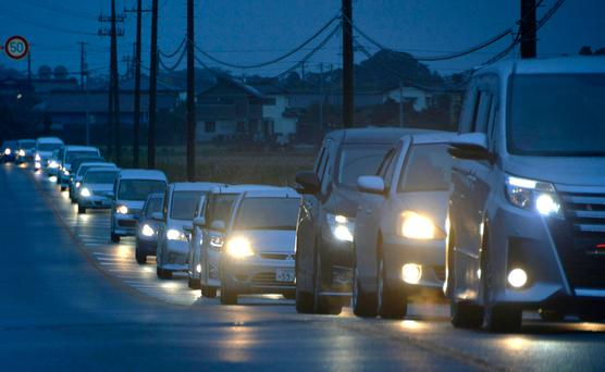 A traffic jam is seen as people evacuate after tsunami advisories were issued following an earthquake, in Iwaki, Fukushima prefecture, Japan, in this photo taken by Kyodo November 22, 2016. Picture: Kyodo/via REUTERS