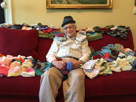 Knitting fan Ed Moseley has created hundreds of hats for premature babies CREDIT: DOGWOOD FOREST ASSISTED LIVING