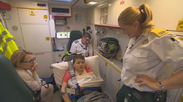 In safe hands and en route to hospital. Paramedics airs Wednesdays at 20:30 on TV3.