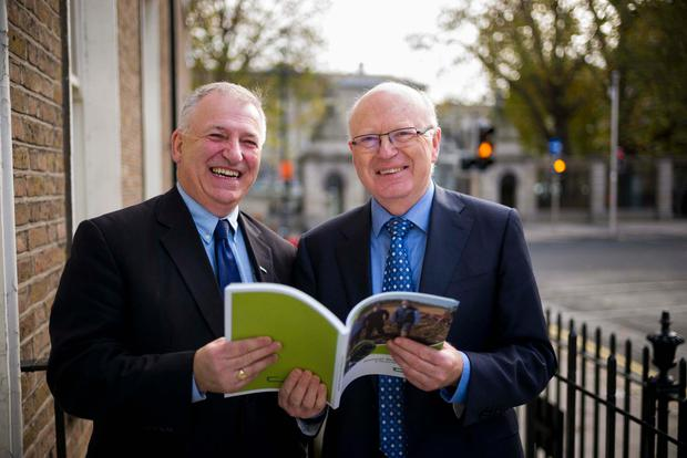 Teagasc Director, Professor Gerry Boyle with Teagasc Chairman Dr Noel Cawley at the publication of the Teagasc Annual Report and Financial Statements for 2015. Photo: John T Ohle.